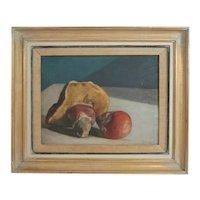 Romeo Costetti Italy 1871 - 1957 Oil painting Still life with fungi mushrooms