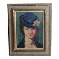 VIntage Oil Painting c1960, portrait of woman with blue hat