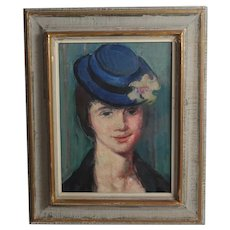 VIntage Oil Painting c1960, portrait of woman with blue hat