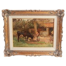 Frans Oerder (1867-1944) Oil Painting Pastoral Landscape a young girl and cow