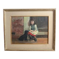 Vintage Oil painting portrait of young girl with black dog, c1950