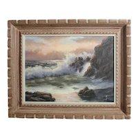 Robert Wee (1927-) Oil painting Rugged Coastal landscape Seascape