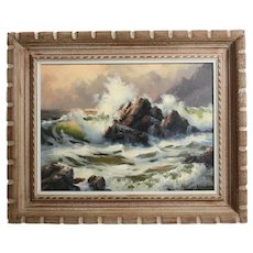 Robert Wee (1927-) Oil painting Rugged Coastal landscape Seascape