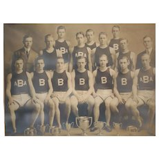 "Antique Photograph Track and Field team, c1910 ""B"" high school or college"