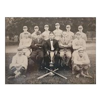 Antique Photograph Public Market Baseball team, with trophy c1900-1910