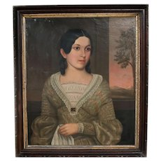 19th century American Oil Painting on canvas, Portrait of young woman or girl
