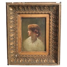 19th century Oil Painting Portrait of young woman in profile
