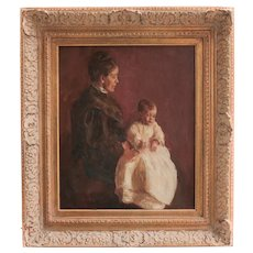 Alice Eliza Cleaver (American 1870 - 1944) Oil Painting Mother and baby