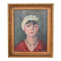 Vintage Oil painting Impressionistic Portrait woman with white bonnet
