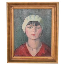 Vintage Oil painting Impressionistic Portrait woman with white bonnet