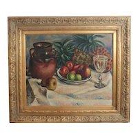 Marin Boquet Impressionist Oil Painting Still life w/ fruit