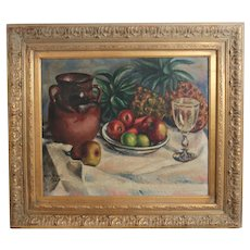 Marin Boquet Impressionist Oil Painting Still life w/ fruit
