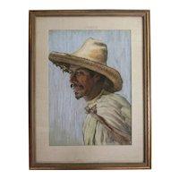 Anton Sario (American 1893-) Pastel Drawing Portrait of Mestizo Man