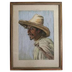 Anton Sario (American 1893-) Pastel Drawing Portrait of Mestizo Man