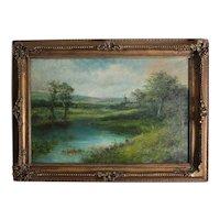 Henri Winstanley, 19th Century Oil painting Landscape along river