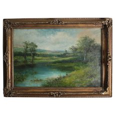 Henri Winstanley, 19th Century Oil painting Landscape along river
