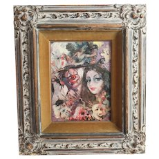 Signed Expressionist Modern Oil Painting, Woman with clowns c1950