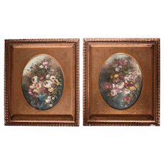 Pair of 19th century Continental Oil Paintings on board florals