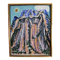 Spencer Bisby (American 1908 - 1989) Enamel on Metal, Mountain scene 1974