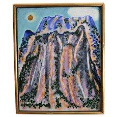 Spencer Bisby (American 1908 - 1989) Enamel on Metal, Mountain scene 1974