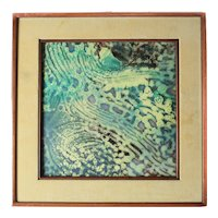 Mid Century Enamel painting on Metal Abstract Green Design