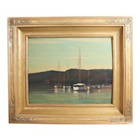 Alfred P Mitchell Oil Painting, Seascape with boats
