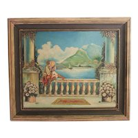 """Balcony"" Oil Painting Landscape w/ woman c1920"