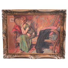 Early 20th century Expressionist Oil Painting woman seated on sofa