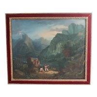 19th Century Wright Oil Painting Landscape moonlit night