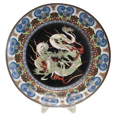 Japanese Cloisonne Platter shaded enamel 3-toed dragon