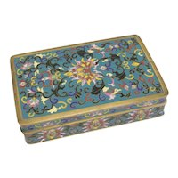 Chinese Cloisonne Box, shaded floral enamel on bronze