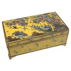 Japanese Yusen-shippo Yellow Cloisonne Enamel Footed Box