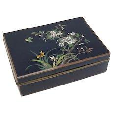 Japanese Yusen-shippo Blue Cloisonne Enamel Box, Sakura Flowers