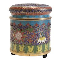Chinese Cloisonne Music Box shaded enamel florals