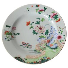 18th Century Famille Rose Chinese Export Porcelain Platter floral