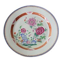 18th Century Famille Rose Chinese Export Porcelain Platter, floral