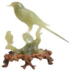 Chinese Jade Carved Bird Figurine