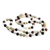 "32"" Multicolored Jadeite Jade and Onyx Beaded Necklace, c1960"