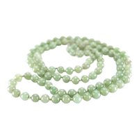 Light Green Jadite Jade Beaded Necklace c1900, 31""