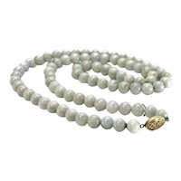 "Jadeite Jade Beaded Necklace 28"" gilt sterling silver clasp"