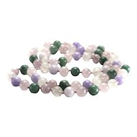 "Jadeite Jade Beaded Necklace 31"" Multicolored green lavender rice water"