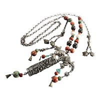 19th century Tibetan Sterling Silver Beaded Necklace coral jade turquoise