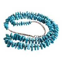 """Turquoise Nugget Heishi Graduated Beaded Necklace  32.5"""""""