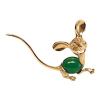 14k Yellow Gold Mouse Brooch, cabochon jade body