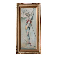 Roderic O'Connor Montagu (1907 - 2001) Oil painting Harlequin Acrobat