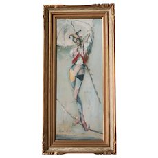 Roderic O'Connor Montagu (1907 - 2001) Oil painting Harlequin Acrobat