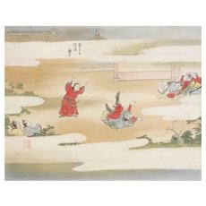 Vintage Chinese painting on silk, seven figures in the clouds