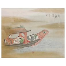 Vintage Chinese painting on silk, Six figures in a boat with a fish