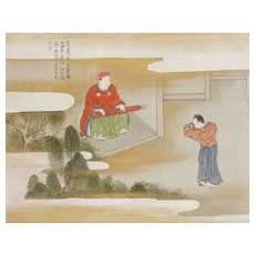 Chinese painting on silk, Two figures, one seated playing a Guqin