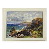 19th century English Watercolor painting Coastal Seascape